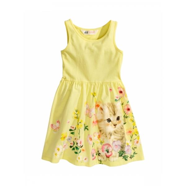 Платье желтое с цветами